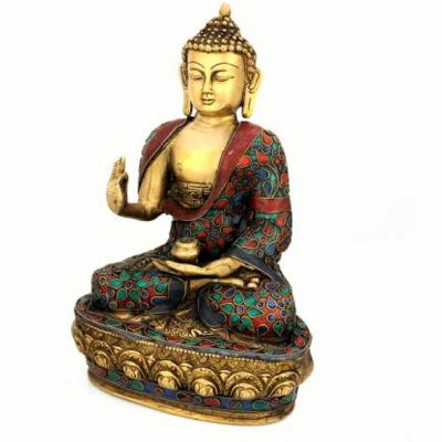 Blessing Buddha Idol-Brass Turquoise Statue