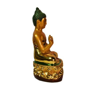 Golden Buddha Car dashboard Decorative Showpiece – 13cm (Polyresin, Gold)