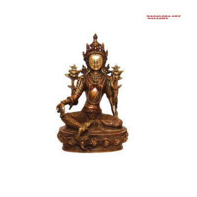 Large Antique Green Tara Buddha Statue Idol