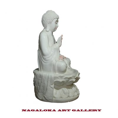 Polyresin Blessing Buddha Statue White